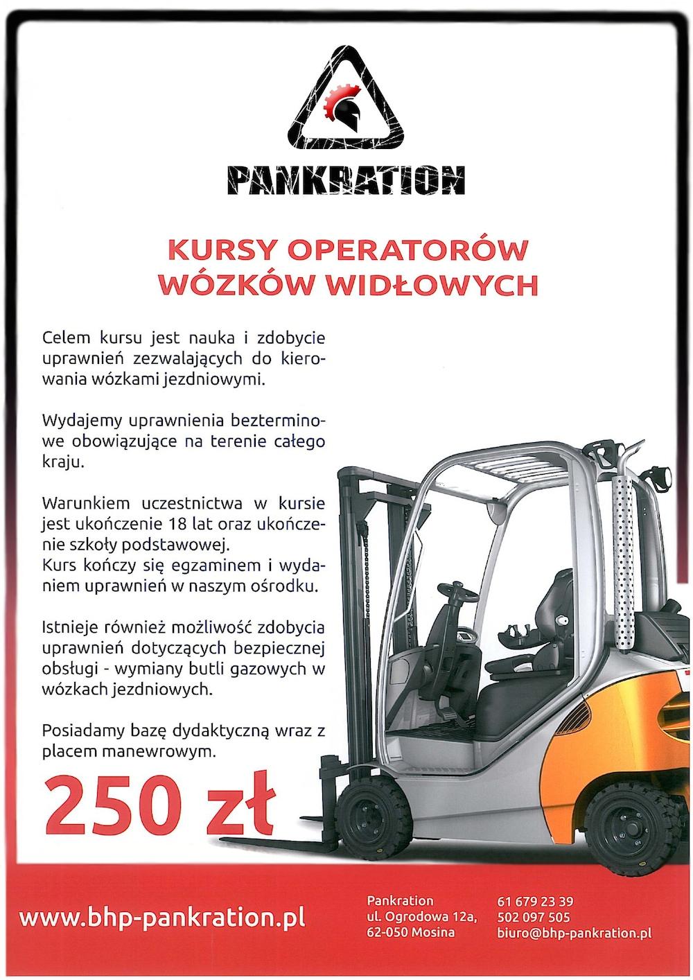 szkolenie obsługi wózków widłowych